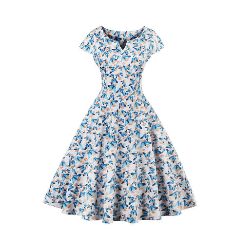 White Butterfly Printing Vintage Dress