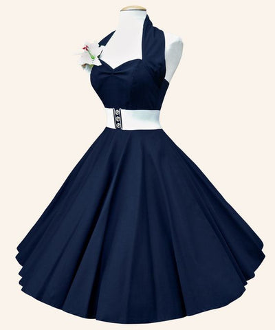 Copy of Belted Navy Blue Hang A Neck Dress