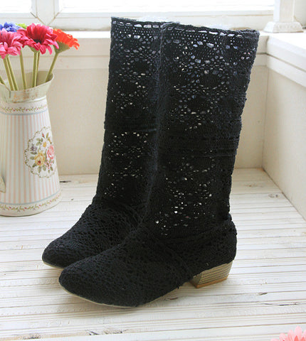 Woman lace casual long boots shoes spring summer black