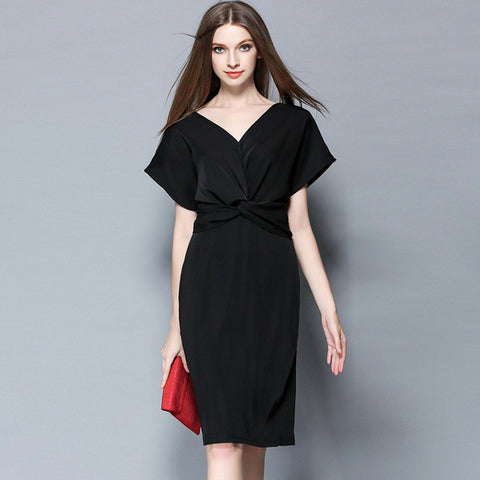 Black V-neck Midi Dress
