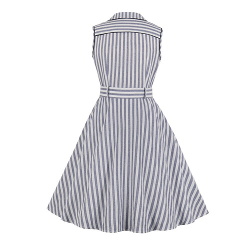 White Blue Stripe Vintage Dress