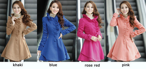 Wool Thick Jacket Coat Outwear in Rose Color