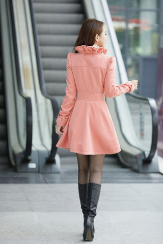 Wool Thick Jacket Coat Outwear in Pink
