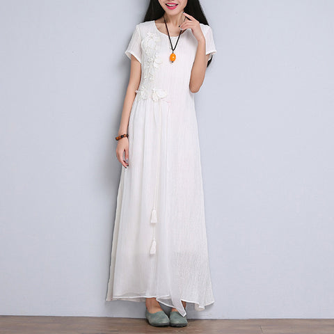 White Embroidered Cotton Short Sleeve Dress