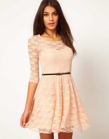 Multiple color lace dress with belt