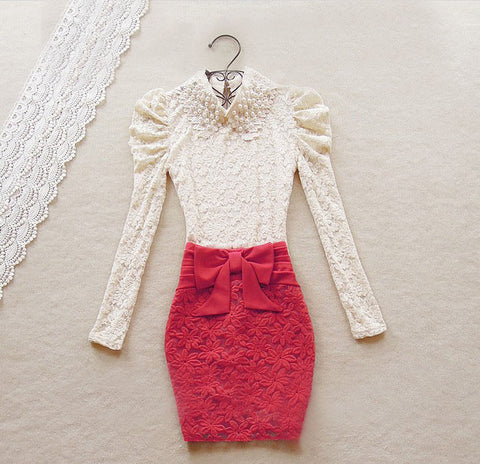 Rose Lace Skirt With Bowtie