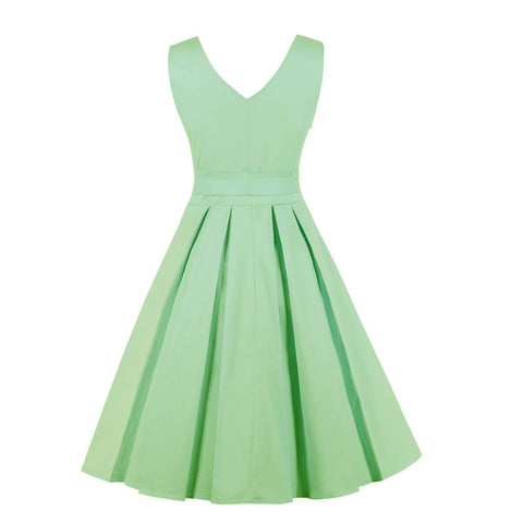 Green Cotton Vintage Style Dress