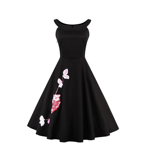 Copy of Belted Sleeveless Printing Vintage Dress