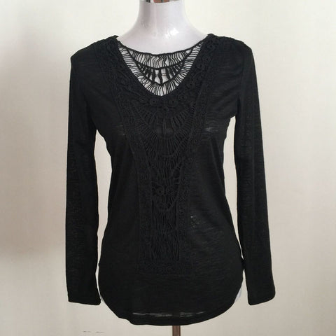 Black Crochet T shirt