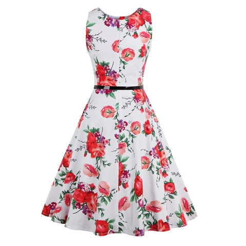 Belted Floral Vintage Dress