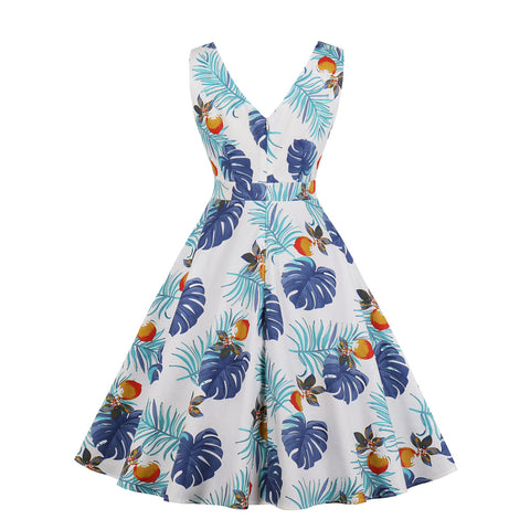 White Leaf Print Vintage Dress