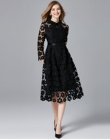 Black Collared Lace Dress