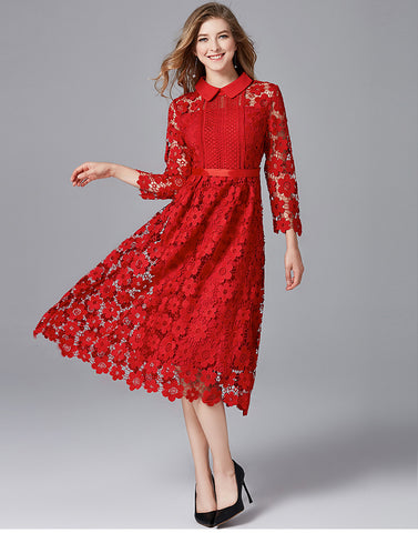 Red Lace Dress Large curvy