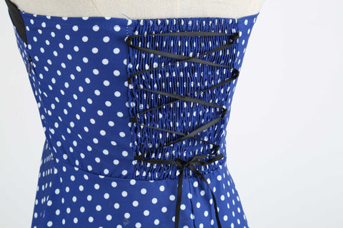 Royal Blue and White Polka Dot Vintage Dress