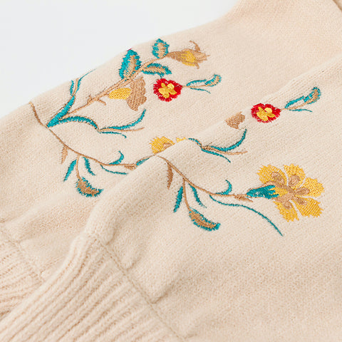 Embroidered Cardigan Sweater