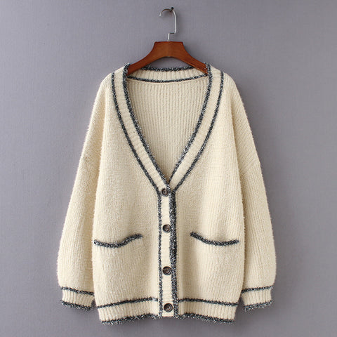 Loose Button-Up V-Neck Sweater Cardigan