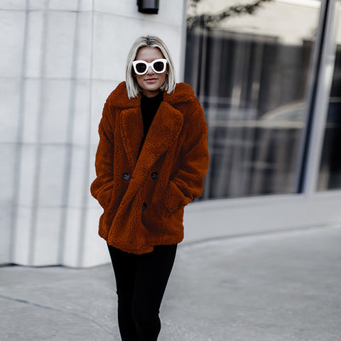 Red/brown Faux Fur Coat Jacket