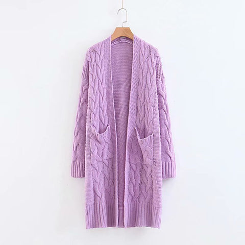 Long V-Neck Sweater Cardigan