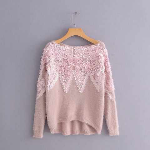 Floral 3-D Sweater