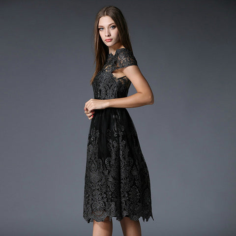 Black Embroidered Lace Midi Dress