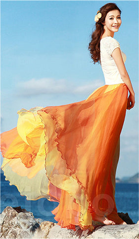 Long Chiffon Skirt in gradually changing Orange Color