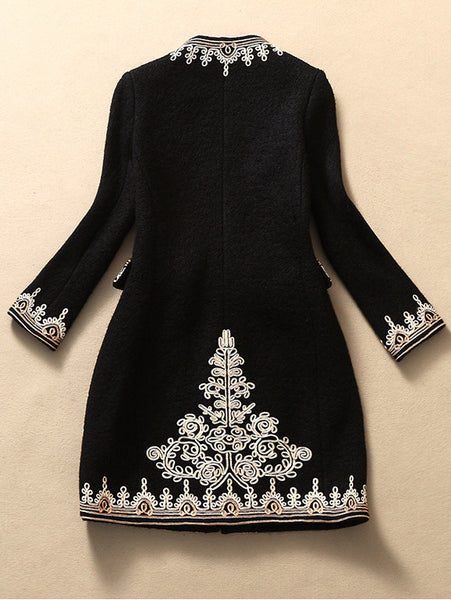 Embroidered Wool Coat Jacket In Black Lily Amp Co