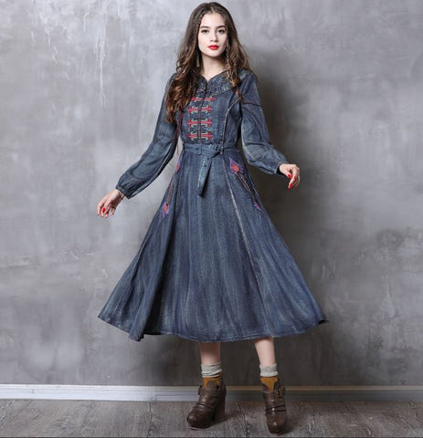 Blue embroidered long sleeve denim dress