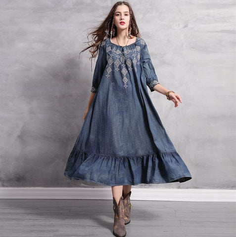Blue embroidered denim boho dress