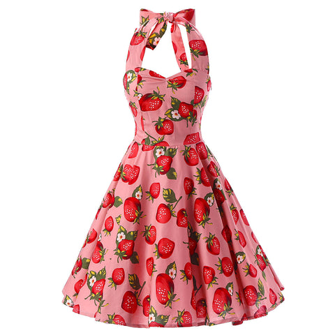 Pink Stawbury Print Vintage Dress
