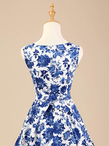 Blue and White Floral Vintage Dress