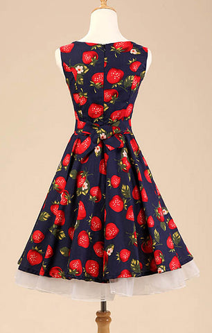 Navy Strawberry Print Vintage Dress