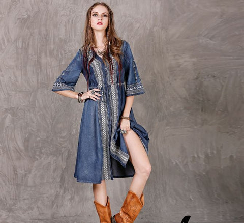 Blue Long Sleeve Embroidered Denim Boho Dress