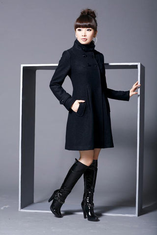 Wool Double Breasted Thick Jacket Coat Outwear in Black