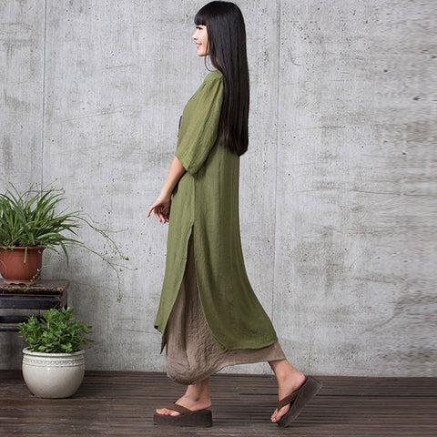 Green Long Sleeve Maxi Linen Dress