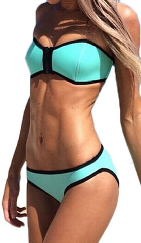 Swimwear Ribbon Textured Neoprene Zipper Bikini Set Blue