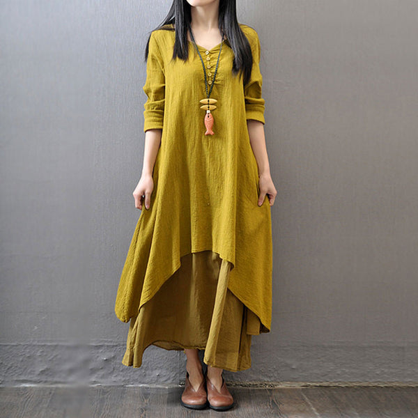 487a41548a92 Yellow Long Sleeve Maxi Linen Dress – Lily & Co.
