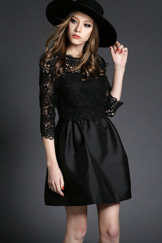 Crochet Lace Dress in Black