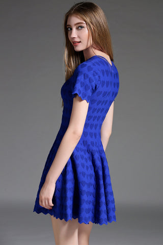 Royal Blue Short Sleeve Dress with Hearts