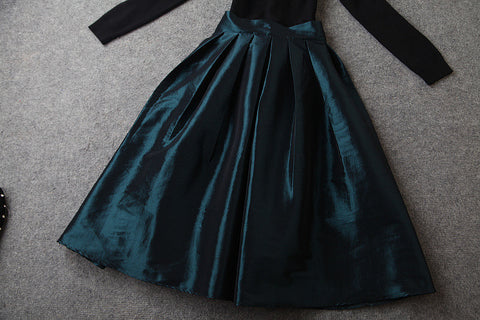 Long Sleeve Belted Long Dress in Black White and Green