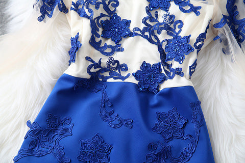 Long Sleeve Embroidered Dress in Blue
