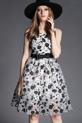Floral Dress in Black and White