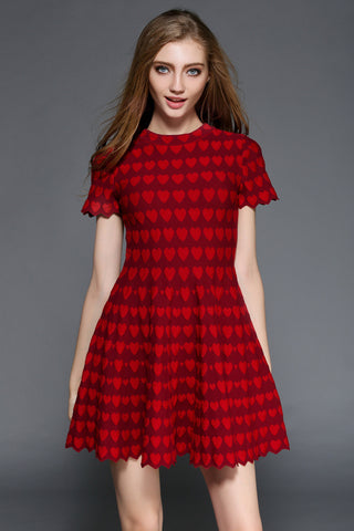 Red Short Sleeve Dress with Hearts