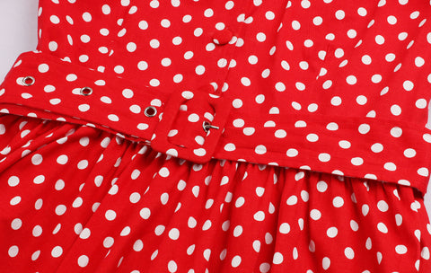 Red Polka Dot V-neck Vintage Dress