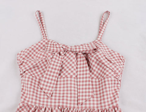 Pink Plaid Vintage Halter Dress