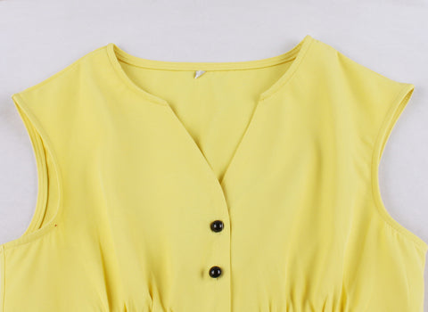Yellow Button Up Vintage Dress