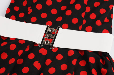Belted Red polka dot Halter Dress