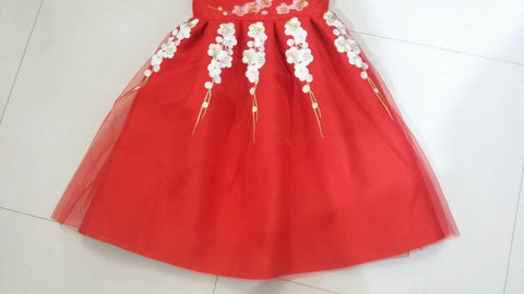 Red Embroidered Floral Dress