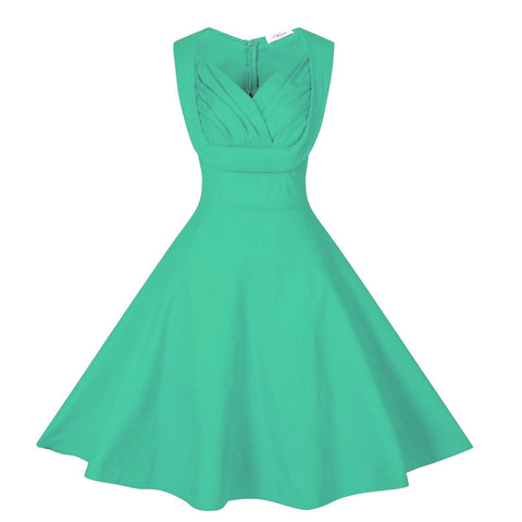 Light Blue V-Neck Vintage Dress