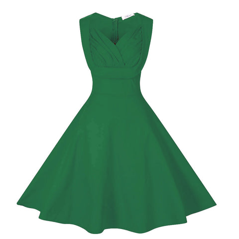 Dark Green V-Neck Full-skirted Vintage Dress