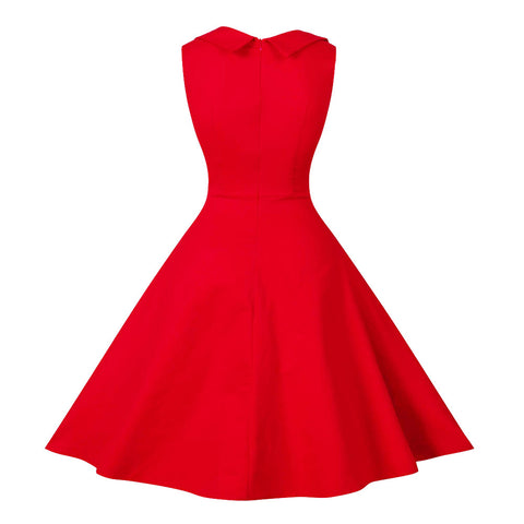 Red V-Neck Full-skirted Vintage Dress